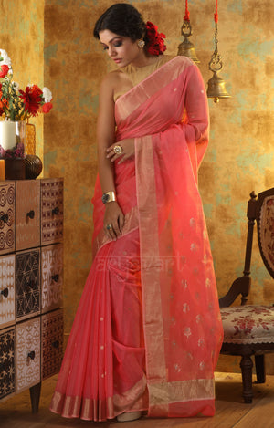 Coral Chanderi Silk Saree With Woven Zari Butta