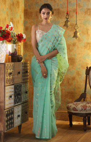 Sea Green Jamdani Saree with Gold and Rose Gold Zari Work