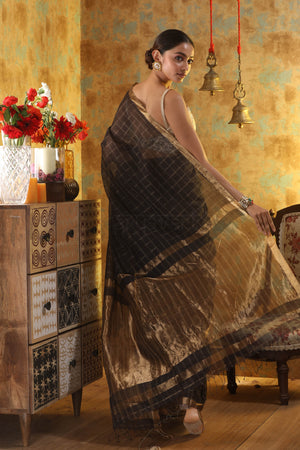 Black Cotton Saree with Gold Zari Checks & Pallu