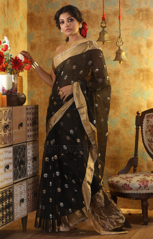 Black Chanderi Saree with Zari Floral Butta