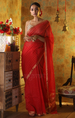Stunning Red Cotton Saree with Gold Zari Checks & Pallu