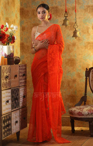 Orange Jamdani Saree with Thread & Zari Work