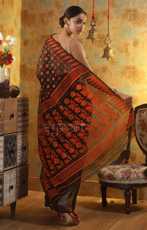 Black Jamdani Saree with Bright Orange Thread Work