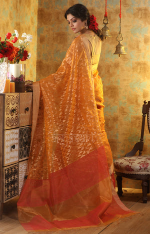 Orange Matka Silk Saree With Geometric Zari Work