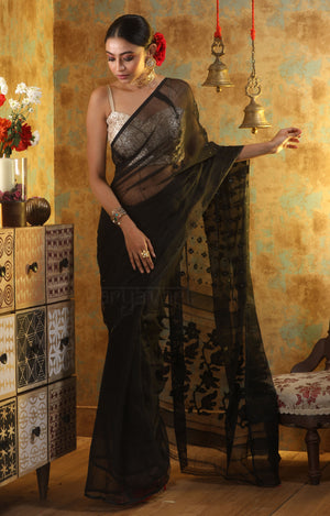 Black Jamdani With Black And Gold Zari Butta