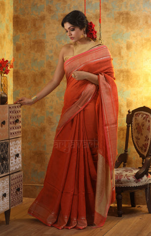 Rust Orange Matka Silk Saree With a Contrasting Pink Border