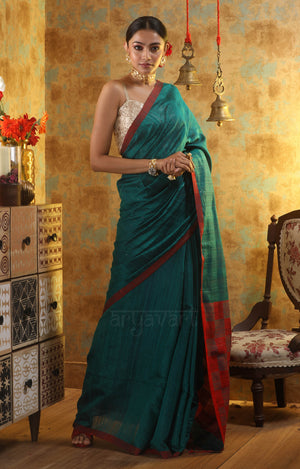 Teal Matka Silk With Woven In Sequence & Geometric Design Red Pallu