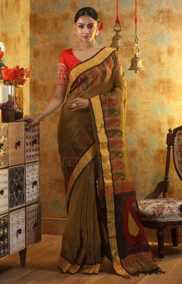 Snuff Brown Linen Saree With Woven Paisley Design In The Border & Pallu