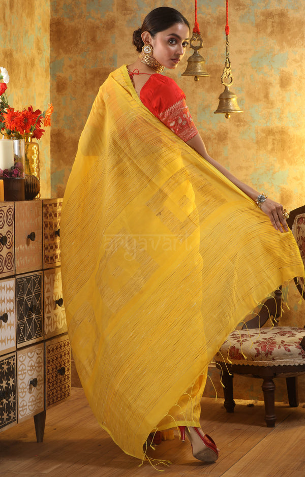 Sunshine Yellow Blended Cotton Saree With Woven Square Design