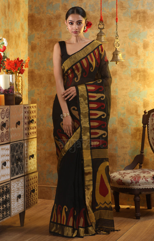 Black Linen Saree With Woven in Paisley Design In The Border & Pallu