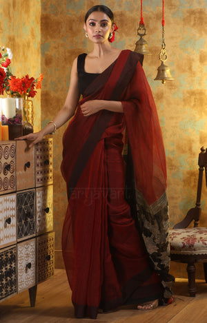 Maroon Linen Saree with Woven Design in Pallu