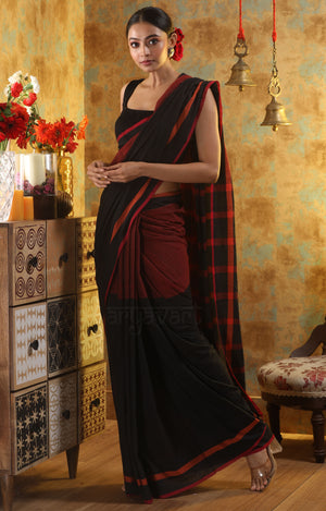 Black Cotton Saree With Red Border