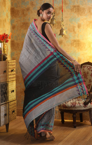 Grey Cotton Saree With Woven Design