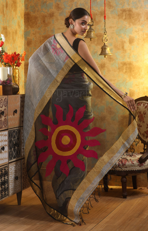 Silver Grey Silk Linen Saree with Stunning Sun Motif in the Pallu
