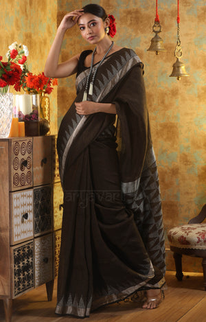 Walnut Brown Linen Saree With Woven Geometric Design