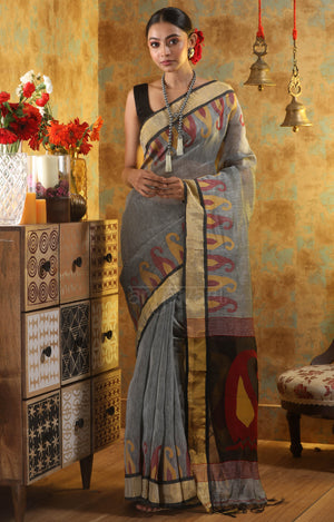 Steel Grey Linen Saree With Woven in Paisley Design In The Border & Pallu