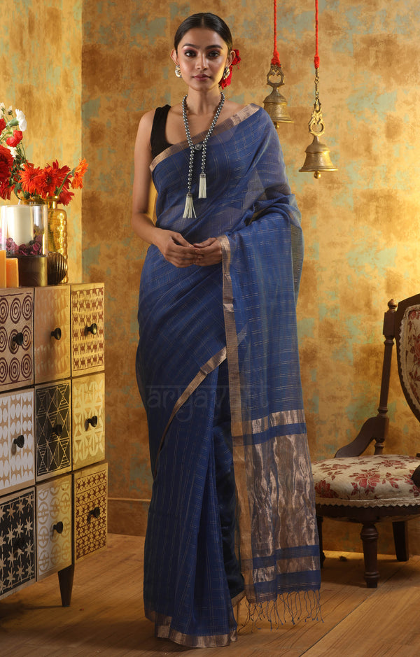 Blue Cotton Saree with Gold Zari Checks & Pallu