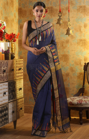 Blue Silk Linen Saree with Temple Border & Stunning Sun Motif in the Pallu