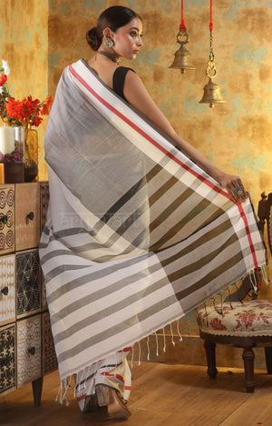 White Cotton Saree with Red and Black Border & Striped Pallu