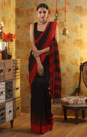 Black Cotton Saree With Woven Check Design on Contrasting Red Border