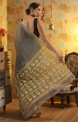 Grey Jamdani Saree with Thread Work