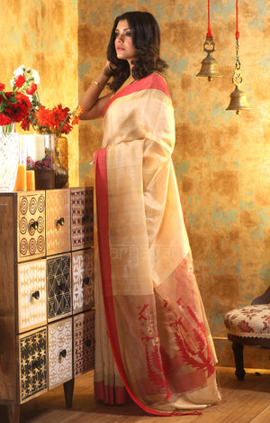 Beige Silk Saree with Red Border & Jamdani Woven Design On Pallu