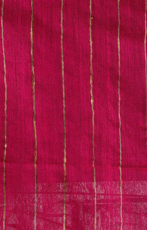 Fuchsia Blended Cotton Saree With Woven Geometric Design all over