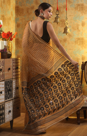 Biscotti Colour Jamdani Saree With Black Thread work