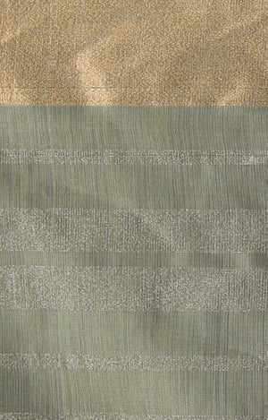 Sage Green Chanderi Silk Saree With Horizontal Zari Stripes