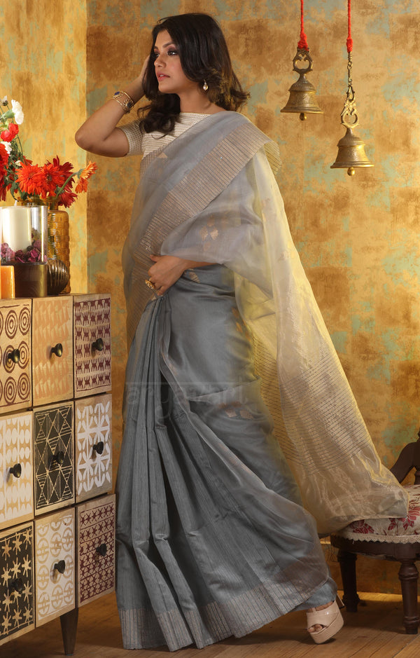 Silver Grey Silk Saree With Woven Zari Motifs