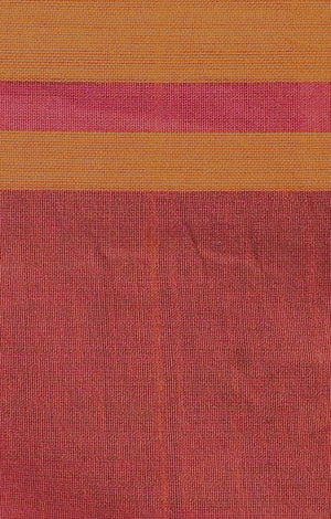 Fuchsia Khadi Cotton Saree with Orange Border & Pallu