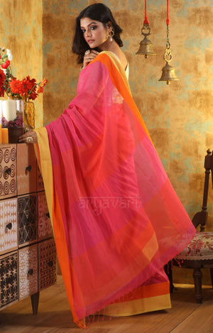 Rose Pink Cotton Saree With Bright Yellow and Orange Woven Border