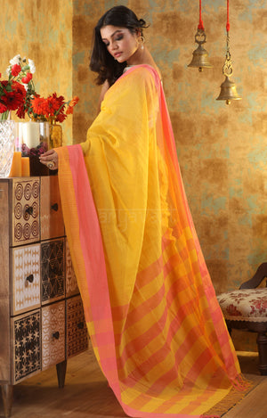 Sunflower Yellow Cotton Saree With Woven Check Design on Contrasting Pink Border