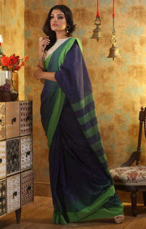 Ink Blue Cotton Saree With Woven Check Design on Contrasting Pink Border