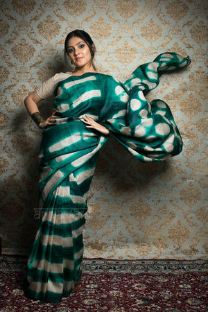 Teal Tussar Silk Saree With Clamp Dye Design
