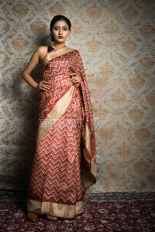 Beige, Burnt Red & Orange Tussar Silk saree With Zari Border