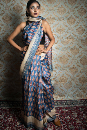 Blue Block Pinted Tussar Saree