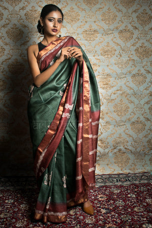 Moss Green & Rust Tussar Silk saree With Zari Border