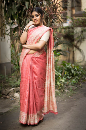 Coral Tussar Silk Saree With Block Print