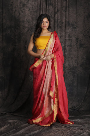 Red Organic Linen Saree With Self Woven Design and Zari Border