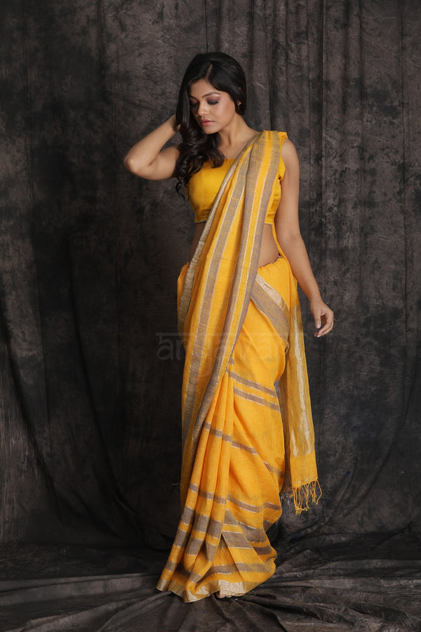 Yellow Organic Linen Saree With Blue and Zari Strips