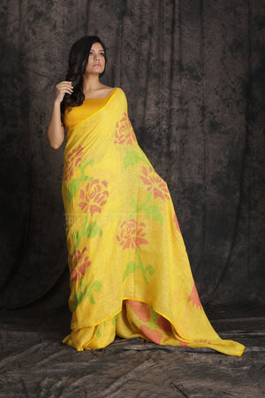 Sunflower Yellow Organic Linen Saree With Floral Jamdani Woven Design