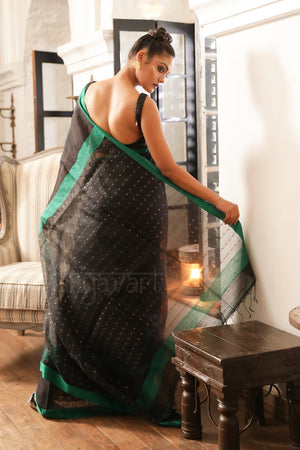 Black Matka Saree With Emerald Green Border. Muslin Anchal With Sequence Work