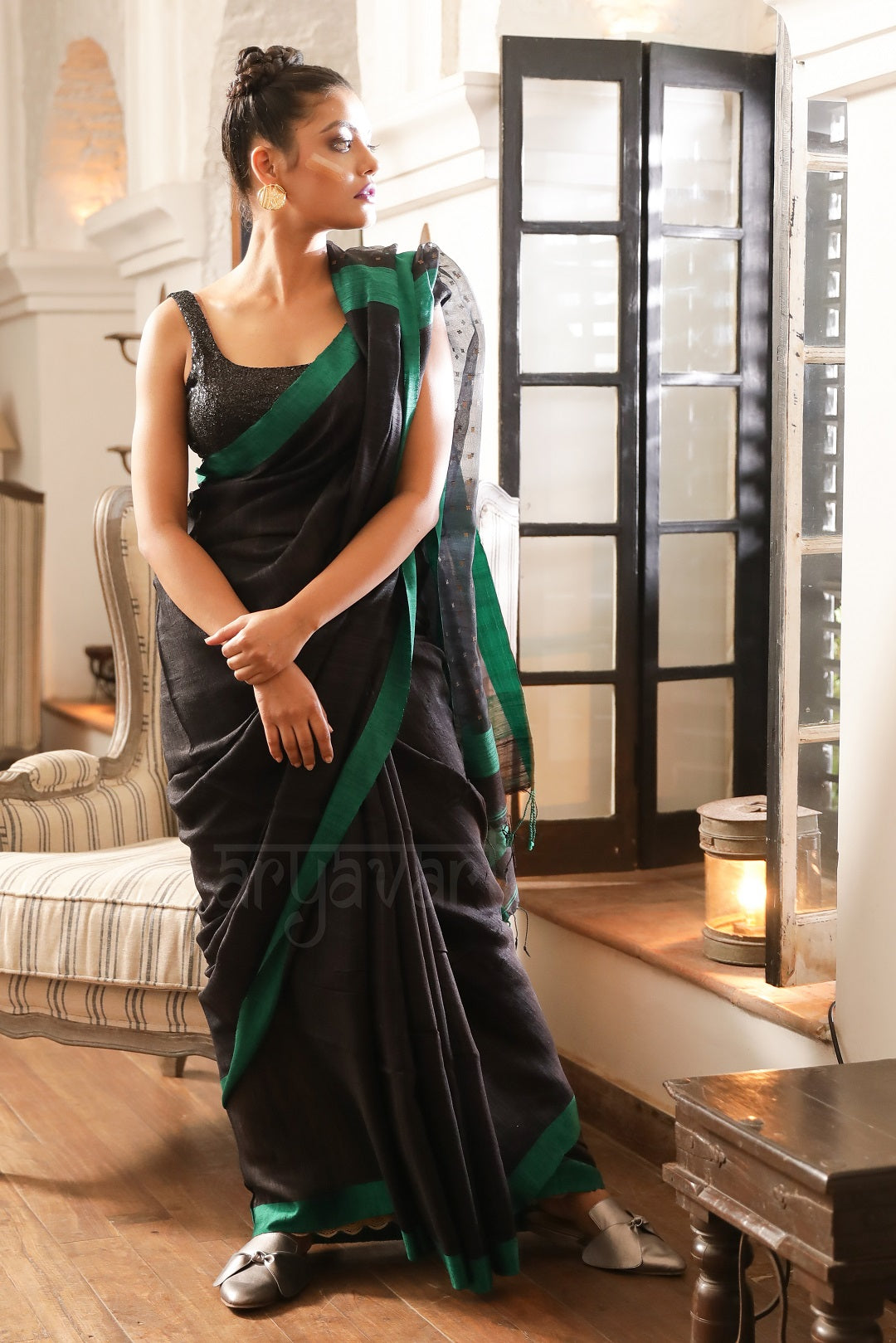 539654947554f Black Matka Saree With Emerald Green Border. Muslin Anchal With Sequence  Work