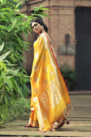 Sunflower Yellow Katan Silk With Exquisite Zari Work