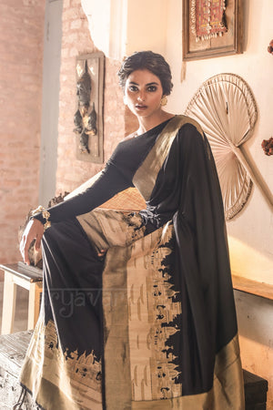 Black Katan Silk With Panorama of Banaras Woven in With Zari