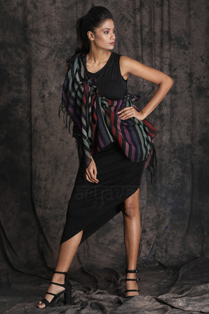 Black With Multicolored Strips Woolen Stole