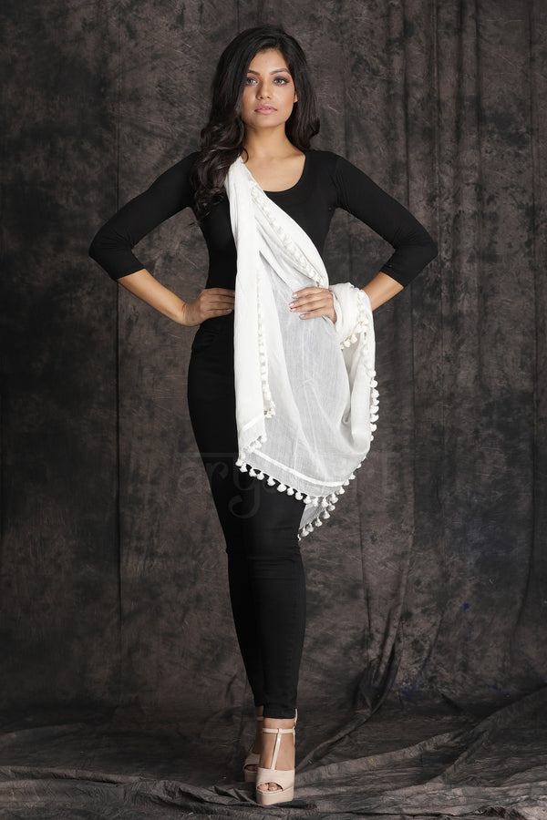 Sparkling White Stole With Pom Poms Along The Border