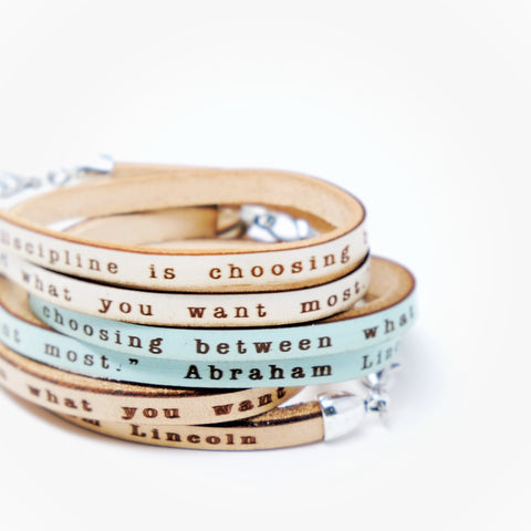 Discipline is... Abraham Lincoln quote leather double wrap bracelet