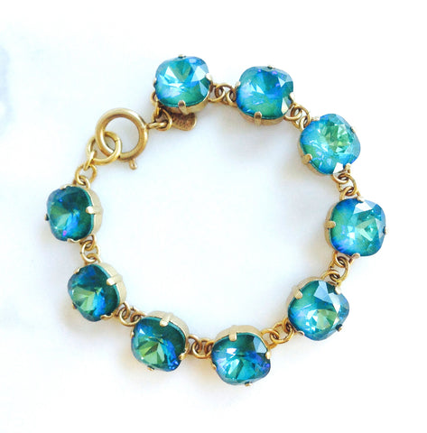 medium stone bracelet- Gold with Mermaid crystal
